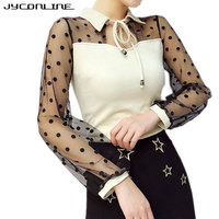 JYConline Black Dot Mesh T Shirt Women Long Sleeve Slim Tops Tees See Through Sexy Streetwear T Shirt Female Elegant Cropped Top