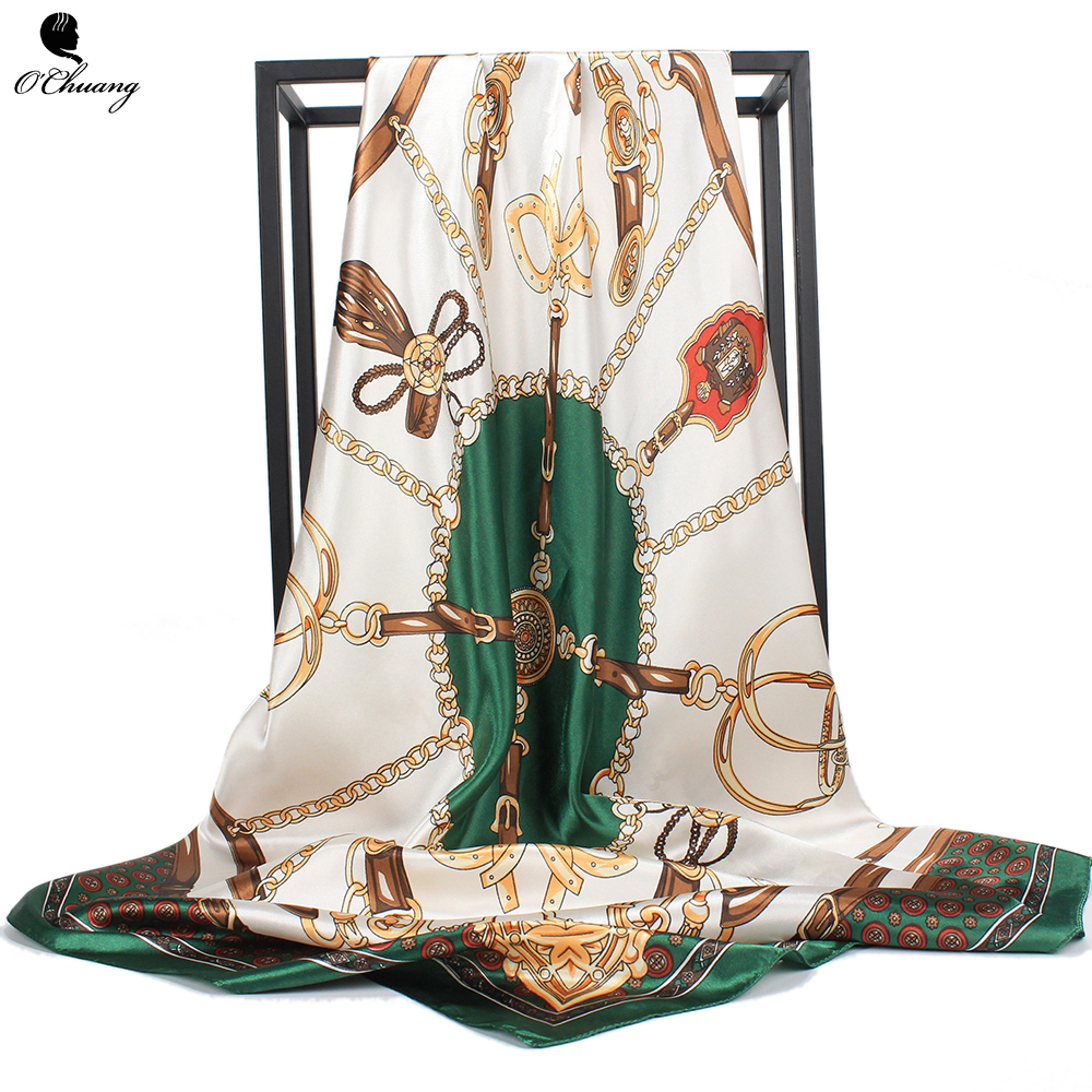 O CHUANG Women Scarf Silk Satin Shawl Fashion Print Green Foulard Scarfs Big Size 90*90cm Square Head Scarves Handkerchief