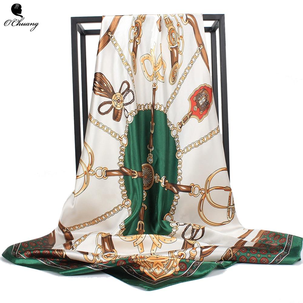 O CHUANG Women Scarf Silk Satin Shawl Fashion Print Green Foulard Scarfs Big Size 90*90cm Square Head Scarves Handkerchief