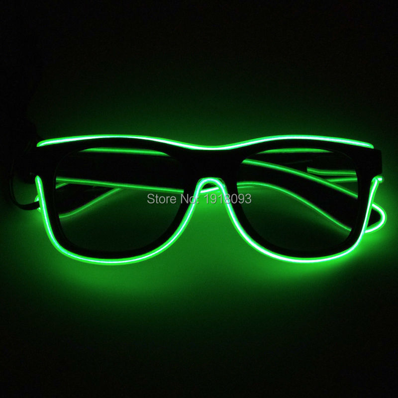 Hot Sales Color Green Glowing Novelty Lighting EL Wire Sunglasses LED Glasses For Party Decoration By DC3V Steady On Driver