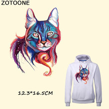 ZOTOONE Pretty Multicolor Cat Iron on Patch DIY T-shirt Dresses Sweater Thermal Transfer Patch for Clothing By Household Irons D sew pretty t shirt dresses