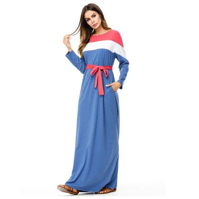 Wipu Fashion Contrast Color Block Maxi Long Dress Fall Plus Size