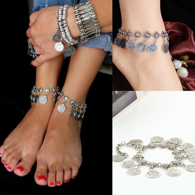Bohemia Silver Color Coin Women's Anklet Chain Strap Foot Bracelet Barefoot Sandals Indian Jewelry Beach Accessories For Women