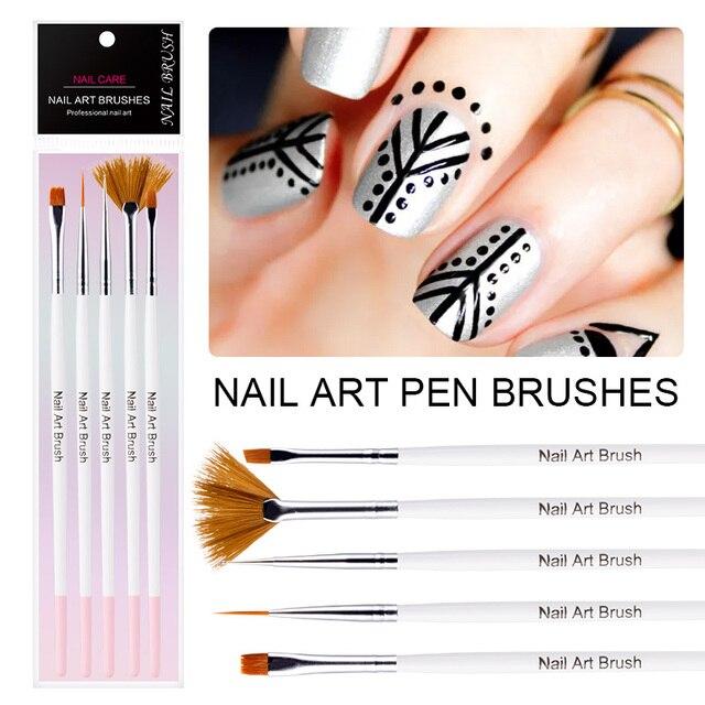 Modelones 5Pcs/Lot Professional Nail Art Brush Pen Tools For UV Gel ...