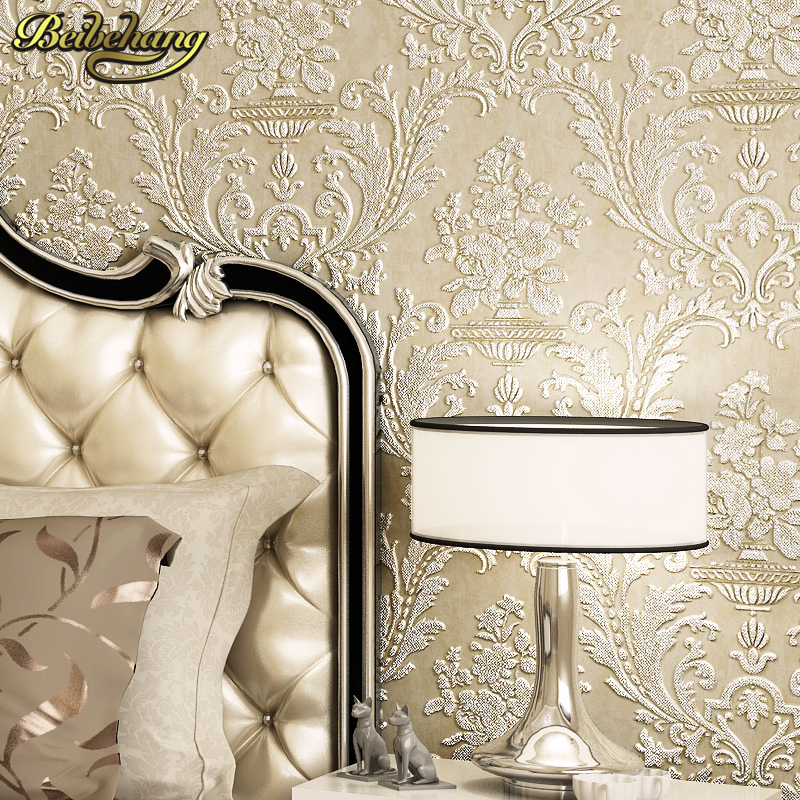 beibehang papel de parede European retro wallpaper non-woven three-dimensional high-foam wallpaper Damascus living room bedroom