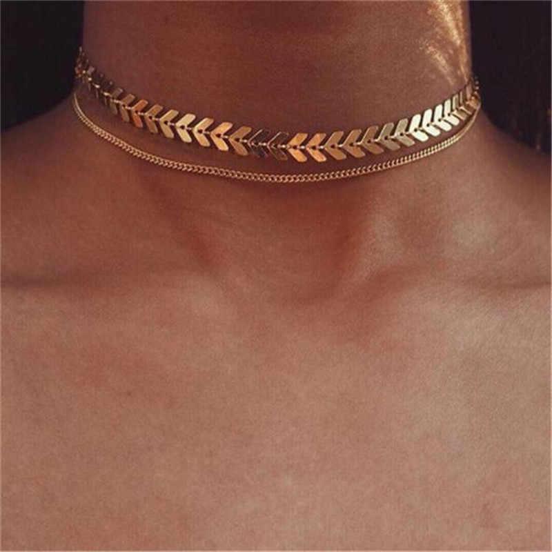 新ファッションハートクリスタルネックレス葉ムーンチョーカーネックレスのペンダントビーチスタイルステートメントジュエリービジュー #9