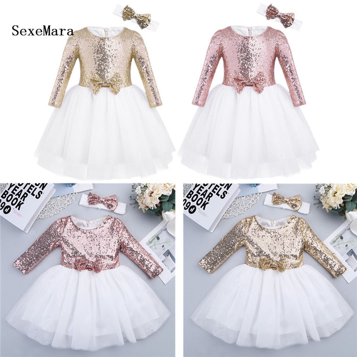 136f2dc495158 Sequins princess kids baby flower girl dress bowknot backless party ...