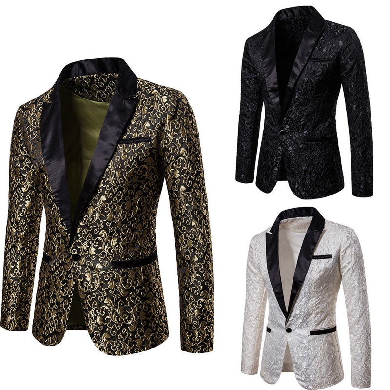 Luxury Men Fashion V-neck Long Sleeve Slim Fit Suit Blazer Dress Formal Tops Banquet Party Evening Jacket Floral Print Coats