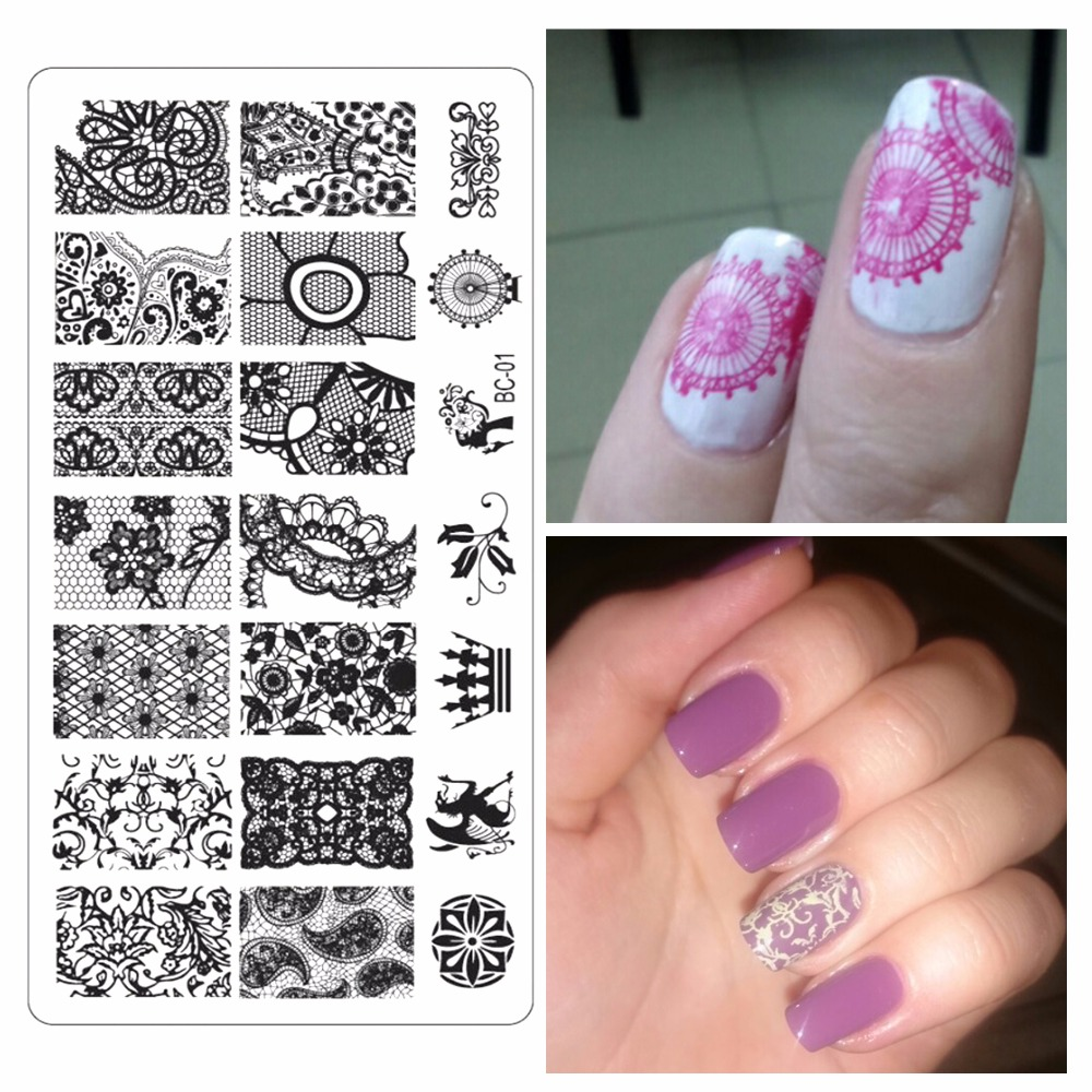 YZWLE 1Pc Lace Design Nail Stamping Plates Nails Art Stamp Stainless ...
