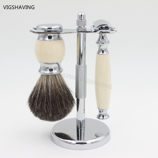 Faux Ivry Handle  Safety razor Luxury Badger Hair Shaving Brush Set