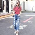Nuevas Mujeres de Mezclilla de Diseñador 2016 de La Alta Cintura Ripped Jeans para Mujeres pantalones anchos de La Pierna pantalones Vaqueros Mujer Jean Femme Hembra Del Verano