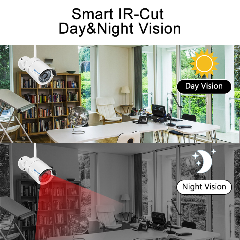 """Image 3 - Techage 4CH 1080P 12"""" LCD NVR Kit Wireless Security Camera System 2MP Outdoor Audio WiFi Camera P2P CCTV Video Surveillance Set-in Surveillance System from Security & Protection"""