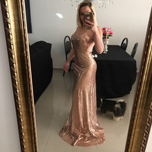 New women's sequins dress sexy nightclub sling backless Slim mopping dress club party long dress backless slip sequins dress