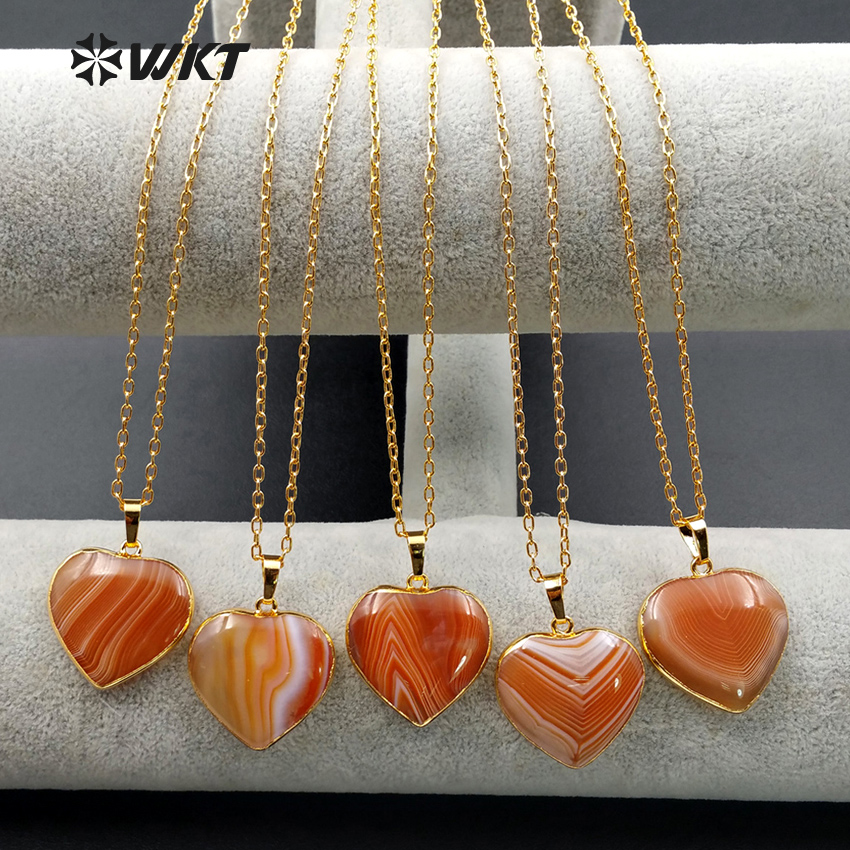 WT N1022 Wholesale fashion jewelry natural red onyx necklace with 24 gold electroplate High quality heart