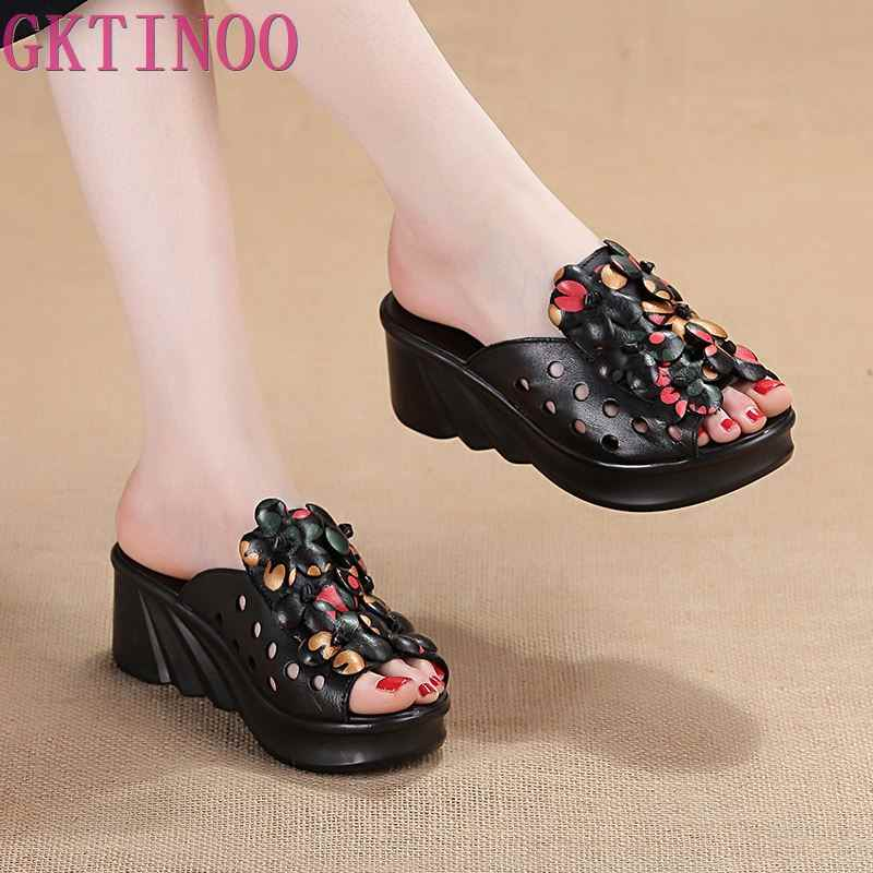 GKTINOO Summer Woman Shoes Platform Slippers Wedge Genuine Leather Women High Heel Slippers For Women Retro Sandals Female Shoes