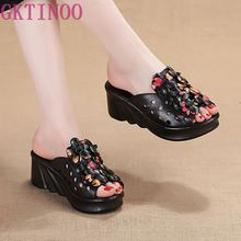 GKTINOO letnie buty damskie sandały na platformie klinowe oryginalne skórzane damskie wysokie klapki na obcasie dla kobiet Retro sandały buty damskie