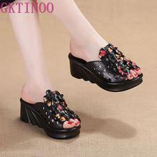 GKTINOO zapatos de plataforma de piel auténtica para mujer, Sandalias de tacón alto Retro, para verano
