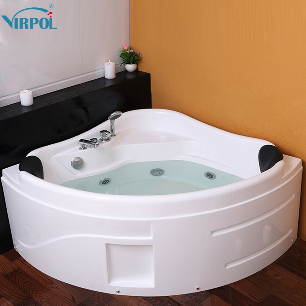 1300mm whirlpool Spa Massage Wall Corner Bathtub freestanding Glass ...