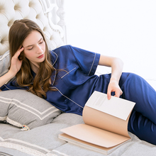 Women 100% Real Natural Silk Pajamas Set Button Blue Summer Pure Silk Pyjamas Sleepwear 2 Pieces For Ladies Nighties for Women