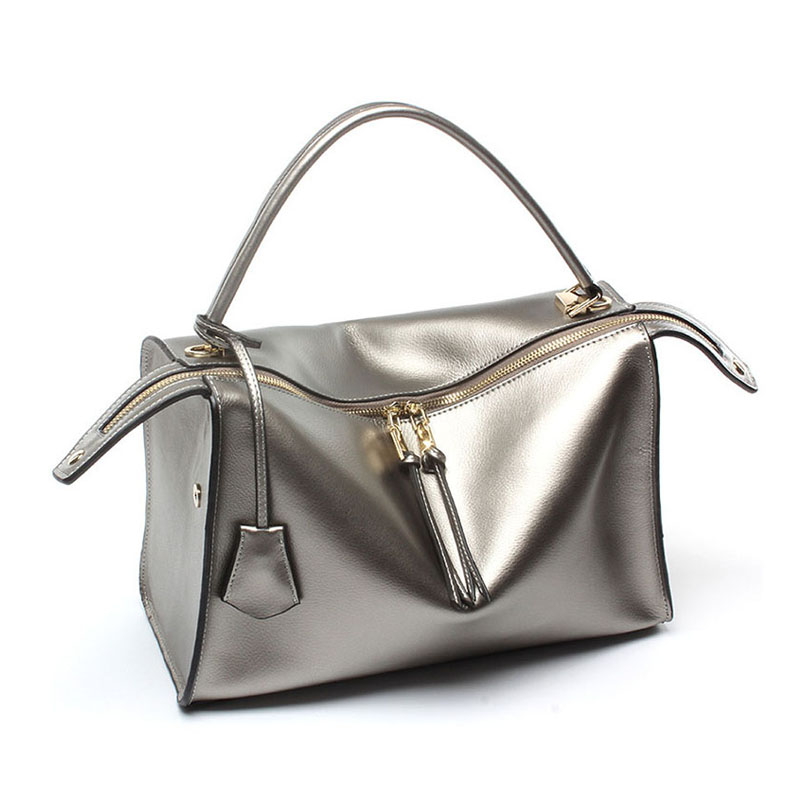 Luxury Handbags Boston Tote Bags Ladies Hand Bag Women Real Genuine Leather Designer Square High Quality Messenger Silver Bag new genuine leather bags for women famous brand boston messenger bags handbags tassel tote hand bag woman shoulder big bag bolso