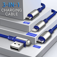 hoco 3 in 1 usb cable for lightning micro usb type c right angled reversible connector fast charging wire charger for phones angular usb 3 0 para usb 3 1 usb c tipo c cabo 1 m 3ft 90 graus suporte 5 gbps direcao right angled 5 v 2a