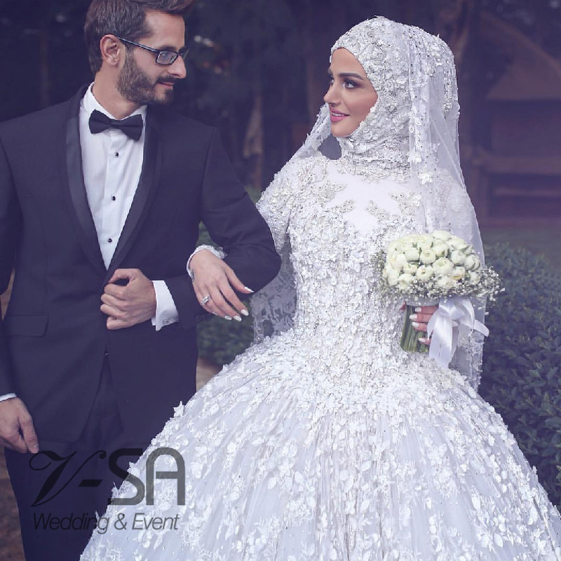 Muslim Ball Gown Wedding Dresses Long Sleeve Applique Turkish ...