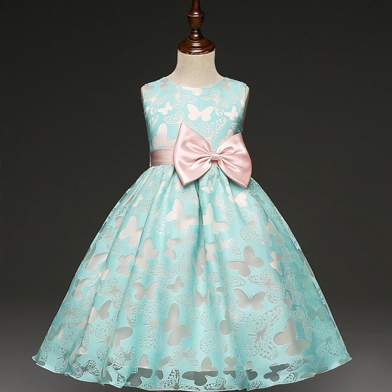 Girl Dress Blue Butterfly Bow Baby girl dresses dress for wedding party ball gown for children elegant princess dress vestidos