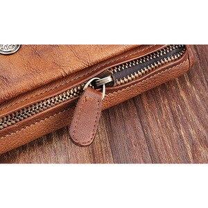 Image 4 - Aetoo couro artesanal retro longo carteira multi purpose fivela juventude multi cartão bit carteira de couro com zíper vintage