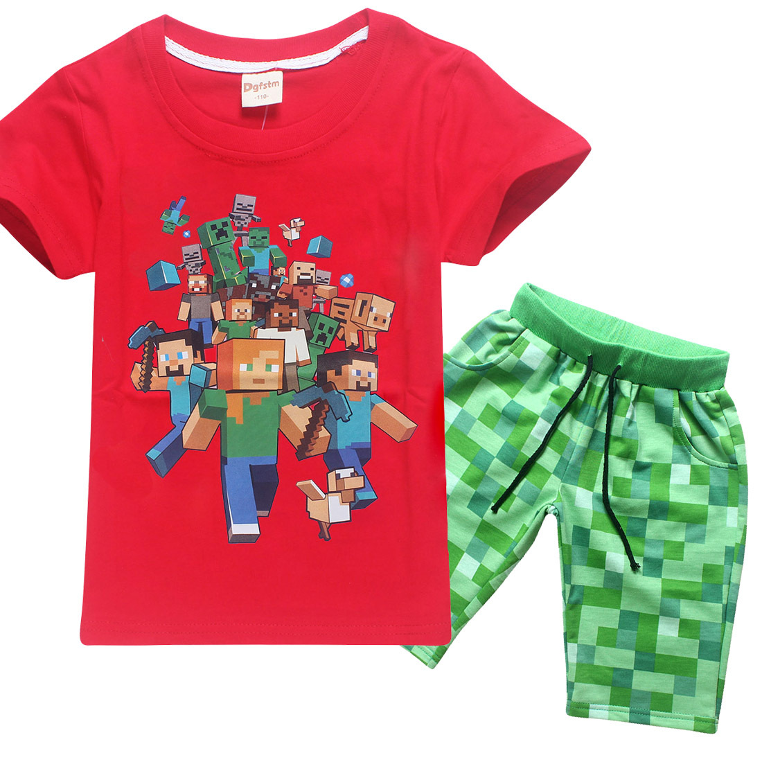 summer Minecraft Cartoon Kids Set Children's Clothing 100% Cotton Boys Girl Short Sleeve T-Shirts Pants Baby Clothes sports Sets