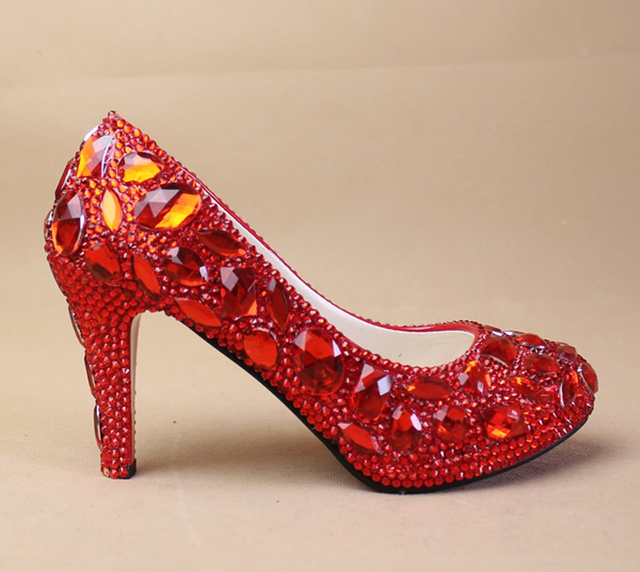Wedding Sparkly Glitter High Heels For Prom Rhinestone Wedding Shoes Bridal  Shoes Red Crystal Woman Fashion