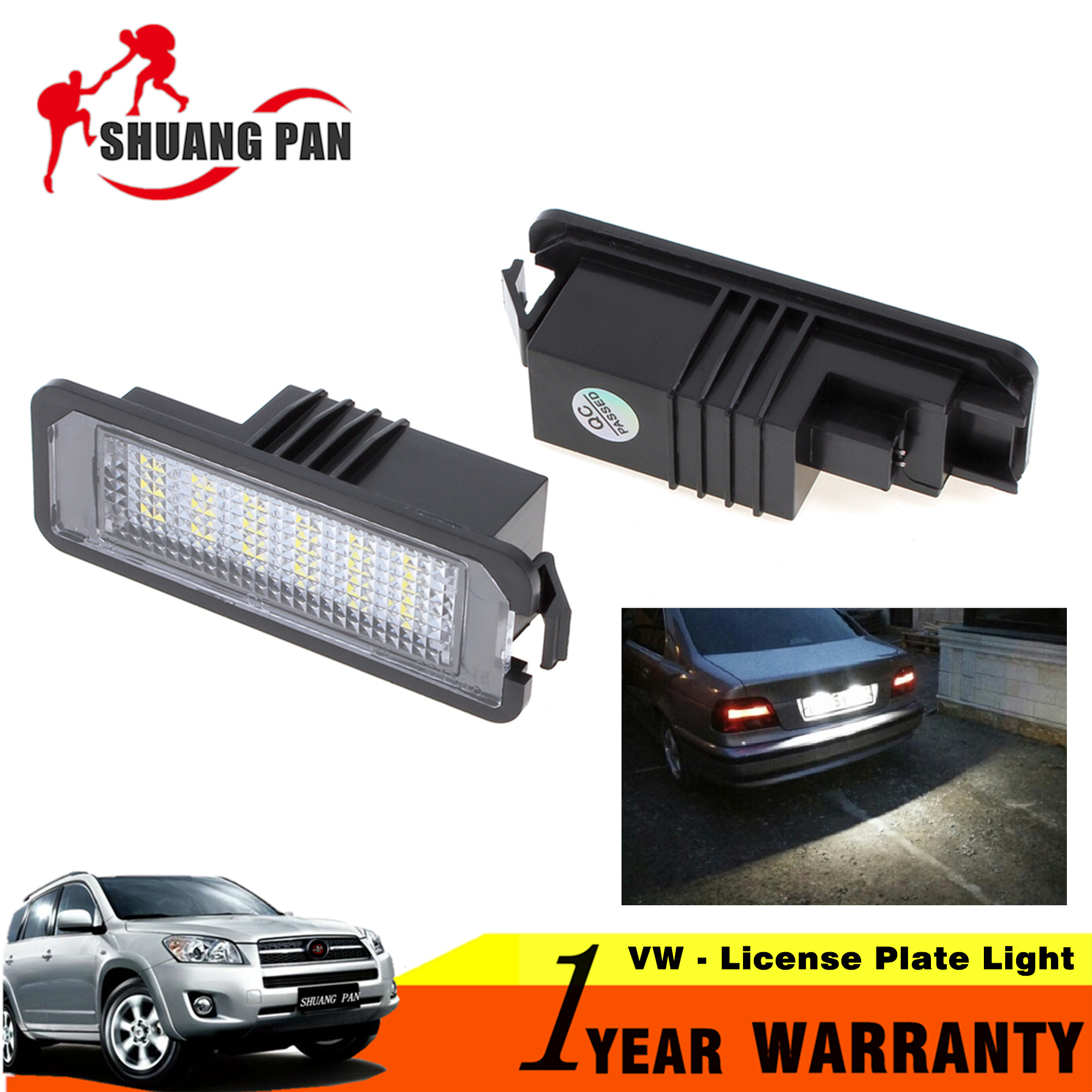 2pcs 12V Car led License Plate Light for VW Golf GTI 4 5 6 CC Beetle Scirocco  Beetle/ for Porsche  Cayman Boxster 3528SMD