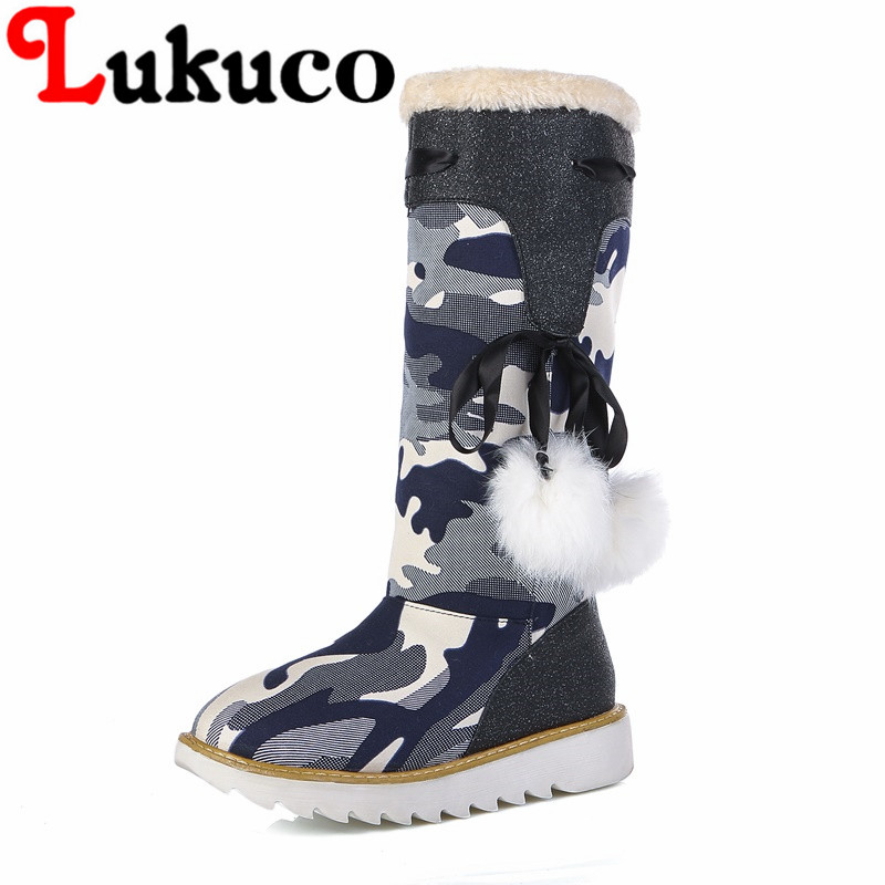 Lukuco camouflage color women mid-calf snow boots with pompon and riband design high quality PU made med wedges heel shoes