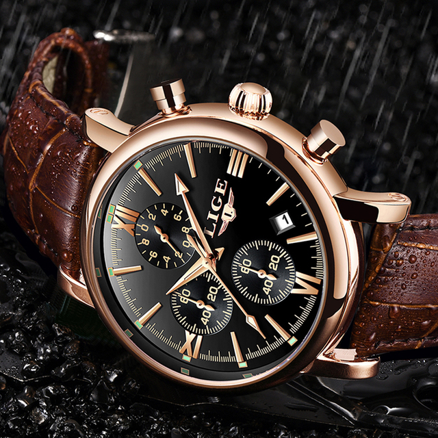 LIGE Fashion Classic Men's Sport Watch Man Analog Quartz Watches Waterproof Date Military Multifunction Wrist Watch Men Clock