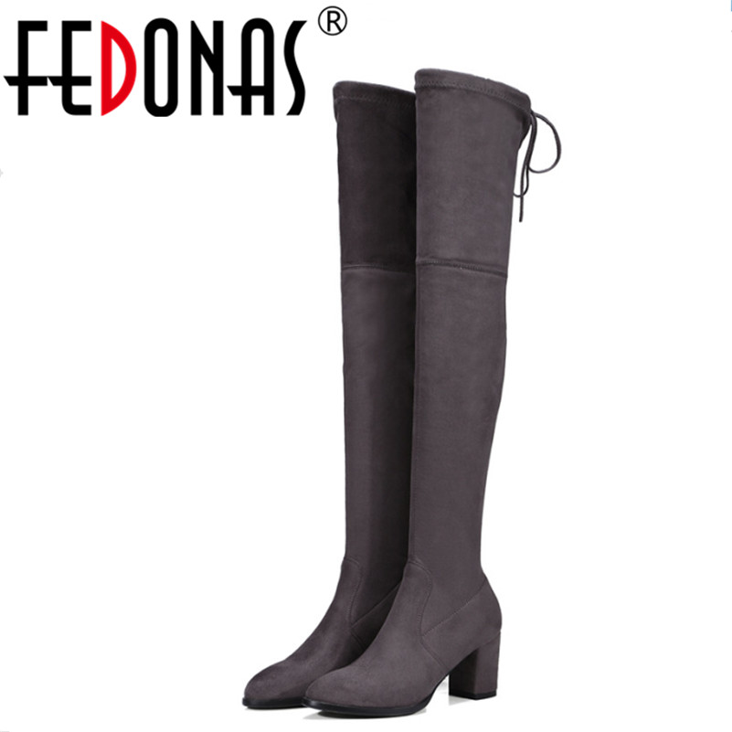 FEDONAS Top Quality New Sexy Over The Knee High Snow Boots Women Fashion Autumn Winter Thigh High Boots Shoes Woman Size 34-43 2017 sexy thick bottom women s over the knee snow boots leather fashion ladies winter flats shoes woman thigh high long boots