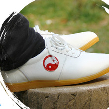 Обувь Tai Chi из воловьей кожи мягкая натуральная кожа кунг-фу обувь для ушу боевые артистичные Сникеры Спортивная тренировочная обувь черный, красный, белый цвет 35-46