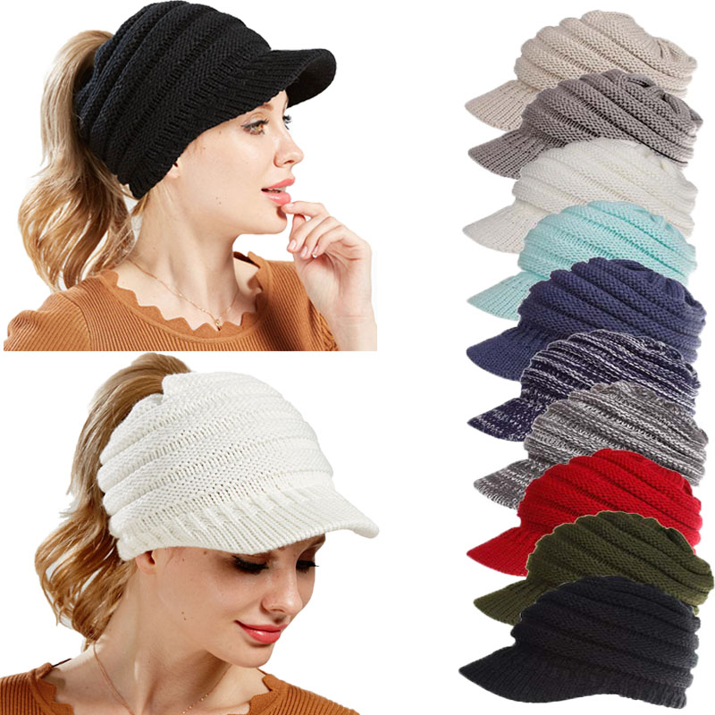 2018 Brand New Solid Color Ponytail Beanie Hats Caps Women Winter Knitted Wool Cap Girls Casual Hip-Hop Skullies Beanie Warm Hat(China)