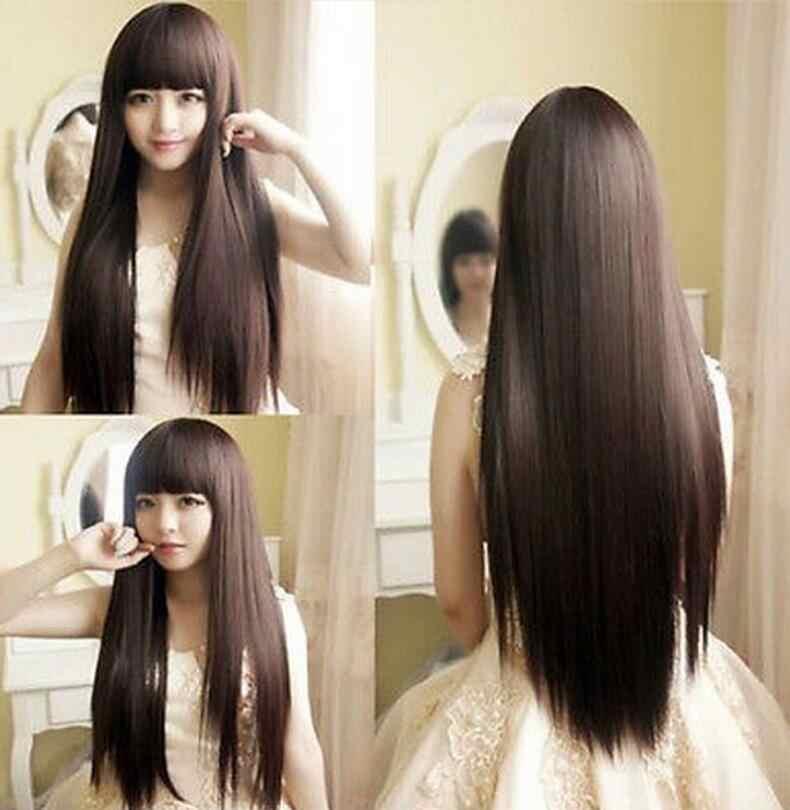Peluca nueva moda mujer chica marrón oscuro Cosplay fiesta largo pelo lacio pelucas completas envío gratis
