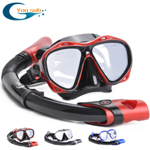 YONSUB myopia tempered dive optical lens mask scuba diving snorkel set underwater anti fog and tube equipment