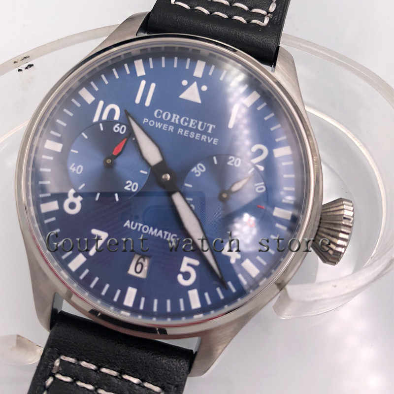 Corgeut 42mm New Seiko Kinetic Automatic Watch Blue Dial Water Resistant &  Date mens watch