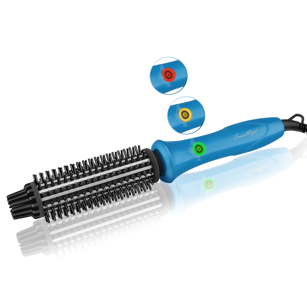 SwanMyst Curling Iron Brush 1 Inch with Anti-scald Bristles, 3 in 1 Ceramic Ionic Hot Hair Curling Styling Brush, Dual Voltage