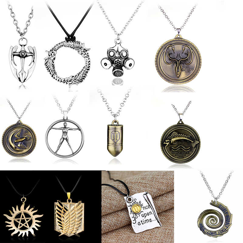 Cheaper Price Viking GAME OF THRONES  necklace men Dr who lion axe World of Tanks bullet pendant necklace statement necklace