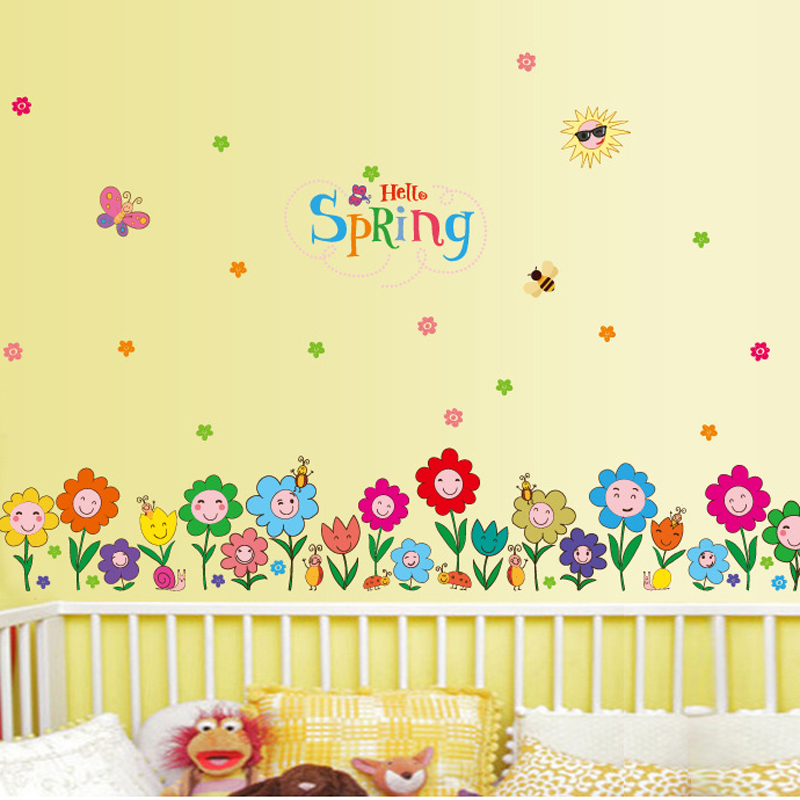 Removable Baseboard Spring Flowers Waterproof Vinyl Wall Stickers Home Decor Kids Skirting Living Room Bedroom Mural Art Decals