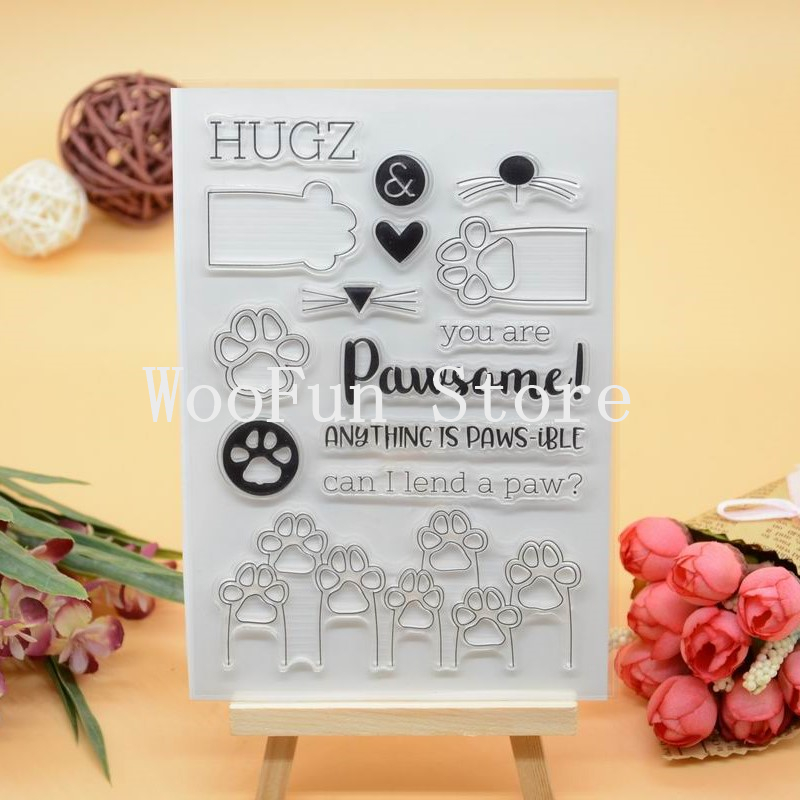CS1075 Scrapbook DIY Photo Album Cards Transparent Acrylic Silicone Rubber Clear Stamps Sheet  11x16cm Paw lovely animals and ballon design transparent clear silicone stamp for diy scrapbooking photo album clear stamp cl 278