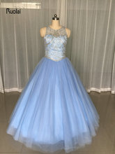 2017 Amazing Quinceanera Dress Sleeveless Scoop Beading Crystal Corset Bodice Tulle Ball Gown Party Dress Backless Custom Made