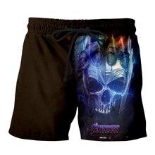 Men Summer marvel Avengers Endgame 3D Print Casual Shorts Thanos iron man Beach Fitness elastic waist Skull Sports Pants