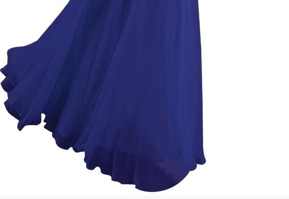 [Распродажа] шифоновое вечернее платье Длинное Элегантное длинное вечернее платье с блестками и бисером на шнуровке сзади милое - Цвет: Royal Blue