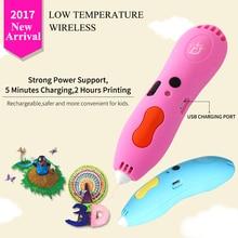 DEWANG Drahtlose 3d Stift 3D Printing Pen Niedrigtemperaturherstellungsverfahren 3D Stifte Für Kinder bildung Tool USB Wiederaufladbare 3D Drucker Stift