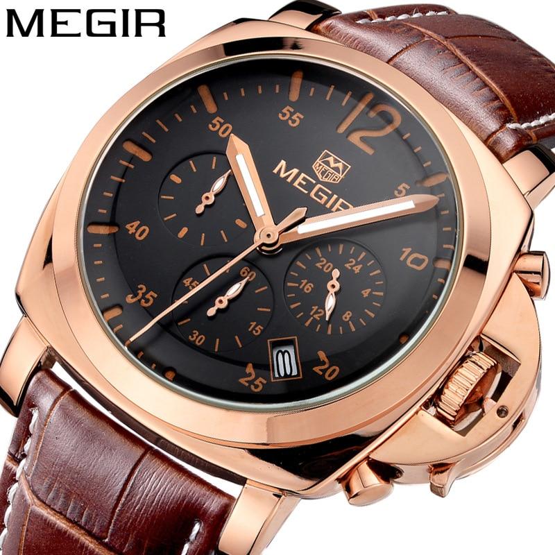 MEGIR Chronograph Mens Watches Top Luxury Brand Leather Strap Quartz Men Male Watch Military Army Sport Date Clock Gift Box 3006