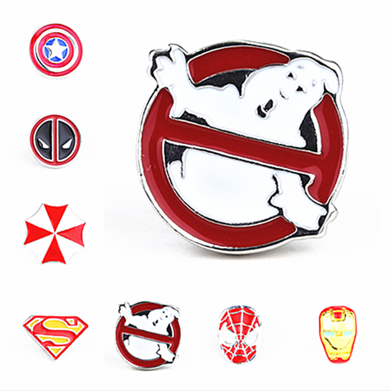 Ghostbusters Brooch Broches Silver Red White Halloween Ghost Ghostbusters Logo Enamel Pin Badge Brooches and Pins