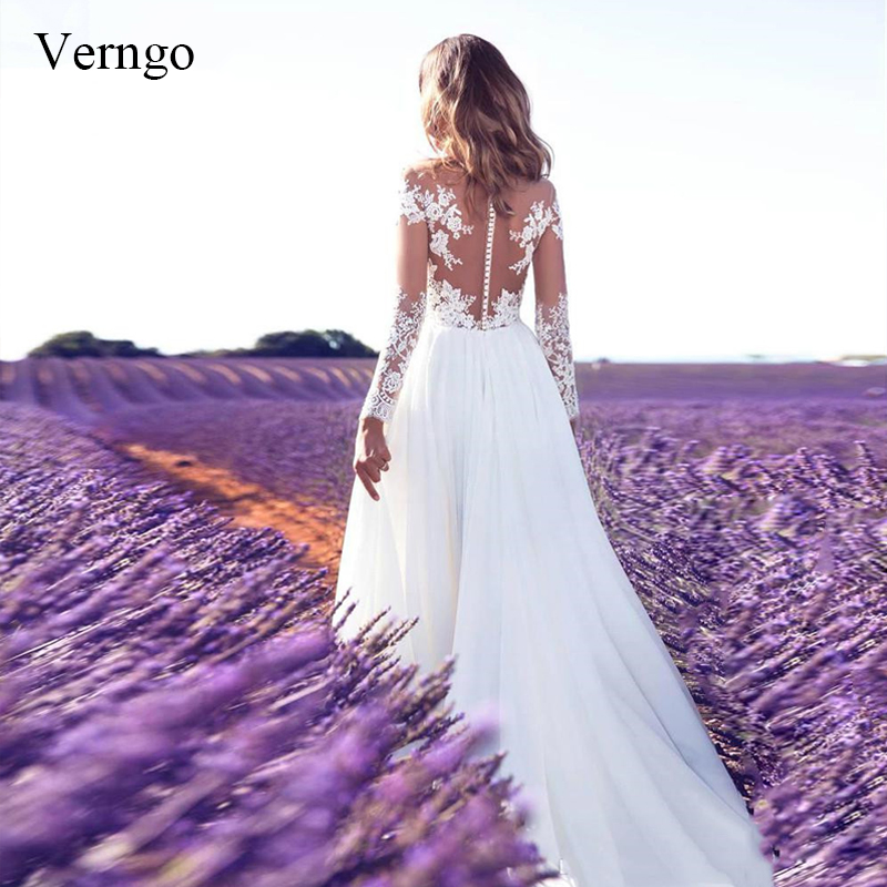 2019 Beach Wedding Dress Lace Appliques Chiffon Bride Dress Long Sleeves Wedding Gowns Romantic White/ Ivory Vestido De Noiva
